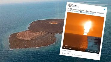 Azerbaiyán.  Poderosa erupción en el Mar Caspio