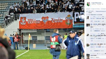 Taki transparent wywiesili kibice Legii podczas meczu w Kijowie. Zdjęciem na oficjalnym profilu na Facebooku pochwaliła się Legia Warszawa
