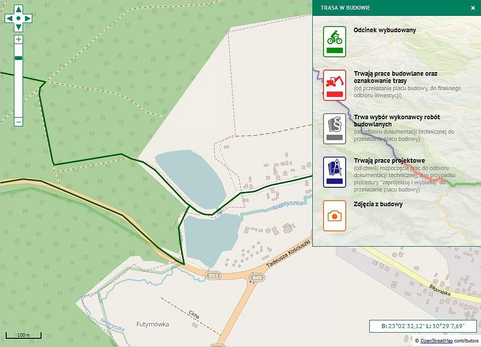 Mapka szlaku Green Velo w miejscowości Józefów