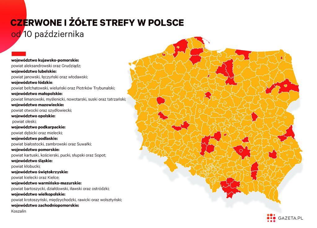 Czerwone i żółte strefy w całej Polsce