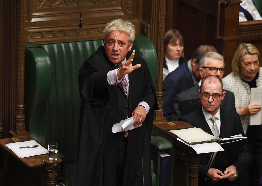 Brexit. John Bercow w Izbie Gmin, 21.10. 2019 r. Nie zgodził się wtedy na drugie głosowanie ws. umowy brexitowej Borisa Johnsona.