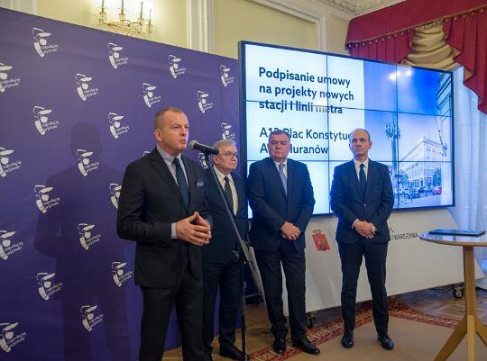 Konferencja prasowa towarzysząca podpisaniu umowy na nowe stacje linii metra M1