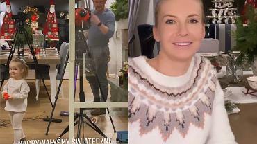 Edyta Pazura nagrywała nowe odcinki na bloga. W tle widać duży salon. Szklana szybka w formie ściany robi wrażenie