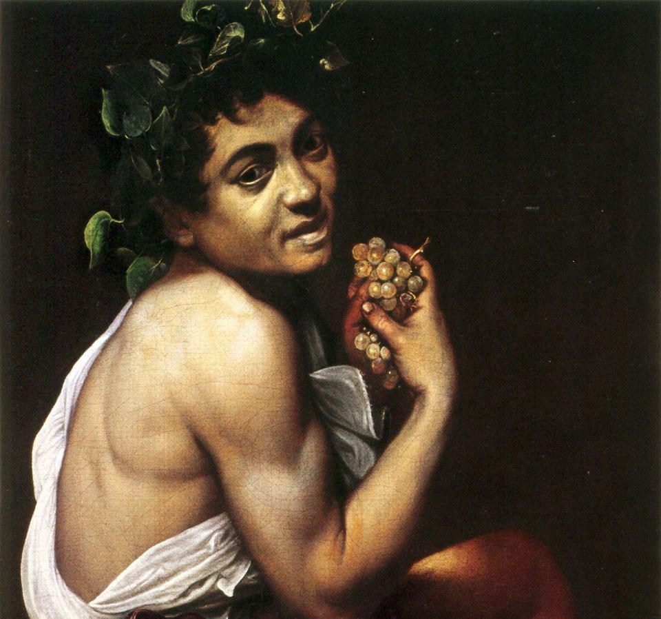Caravaggio. 'Chory Bachus', któremu artysta nadał własne rysy. Obraz powstał ok. 1593 roku
