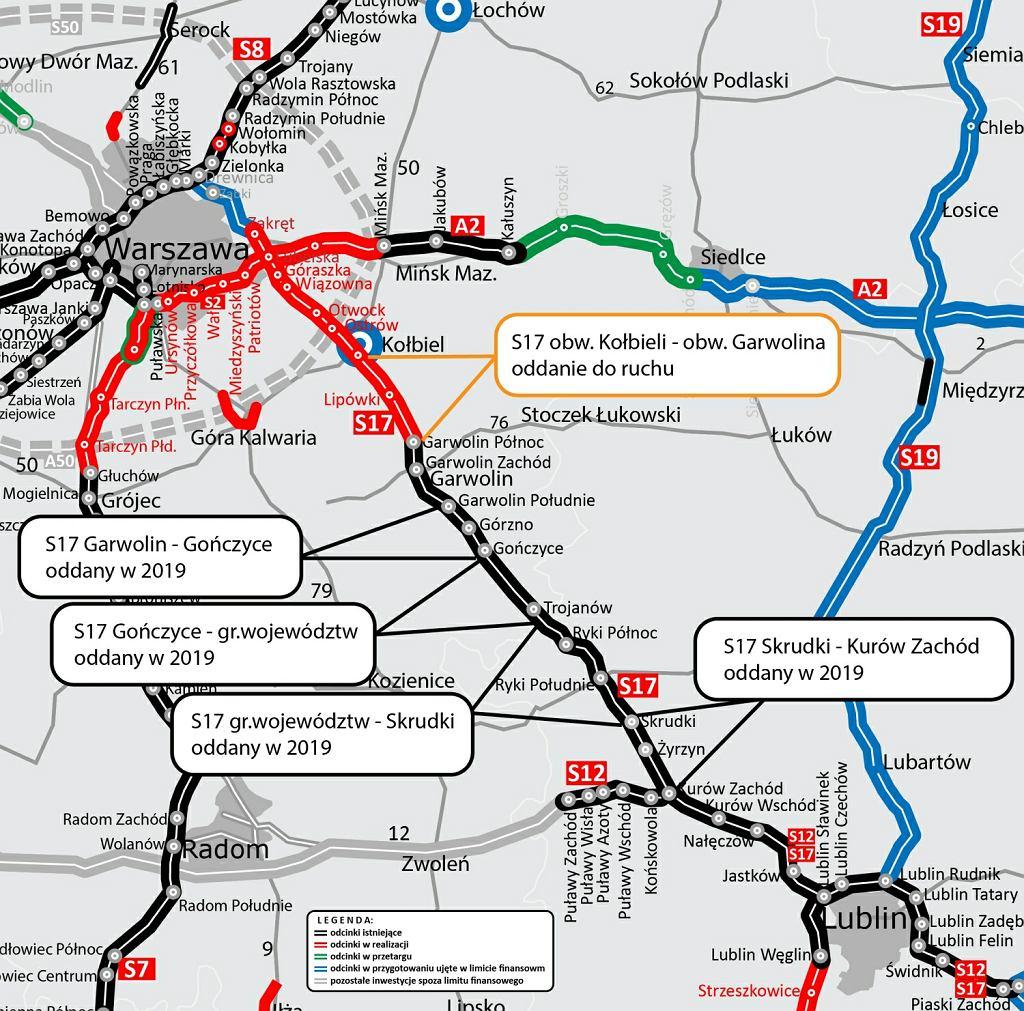 Mapa odcinka S17/Fot.gddkia.gov.pl/