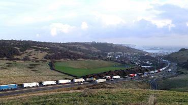 Kolejka tirów do portu w Dover. Wielka Brytania, 15 grudnia 2020 r.