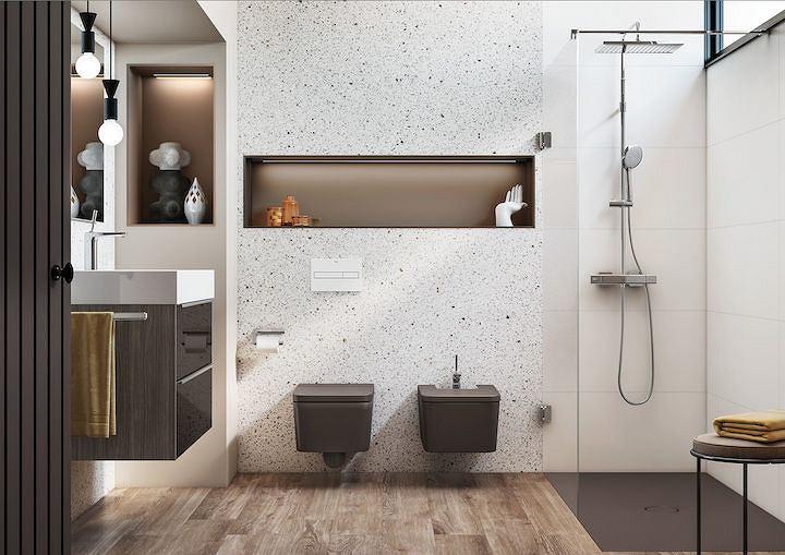 Lastrykowa ściana w łazience
