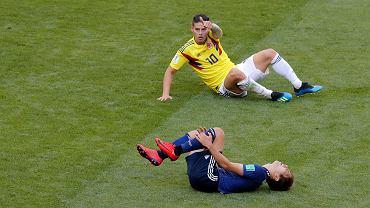 James Rodriguez. Mecz Kolumbia Japonia, mistrzostwa świata w piłce nożnej w Rosji. Sarańsk, 19 czerwca 2018