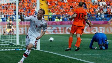 Michael Krohn-Delhi tuż po tym, jak strzelił jedynego gola w meczu Dania - Holandia