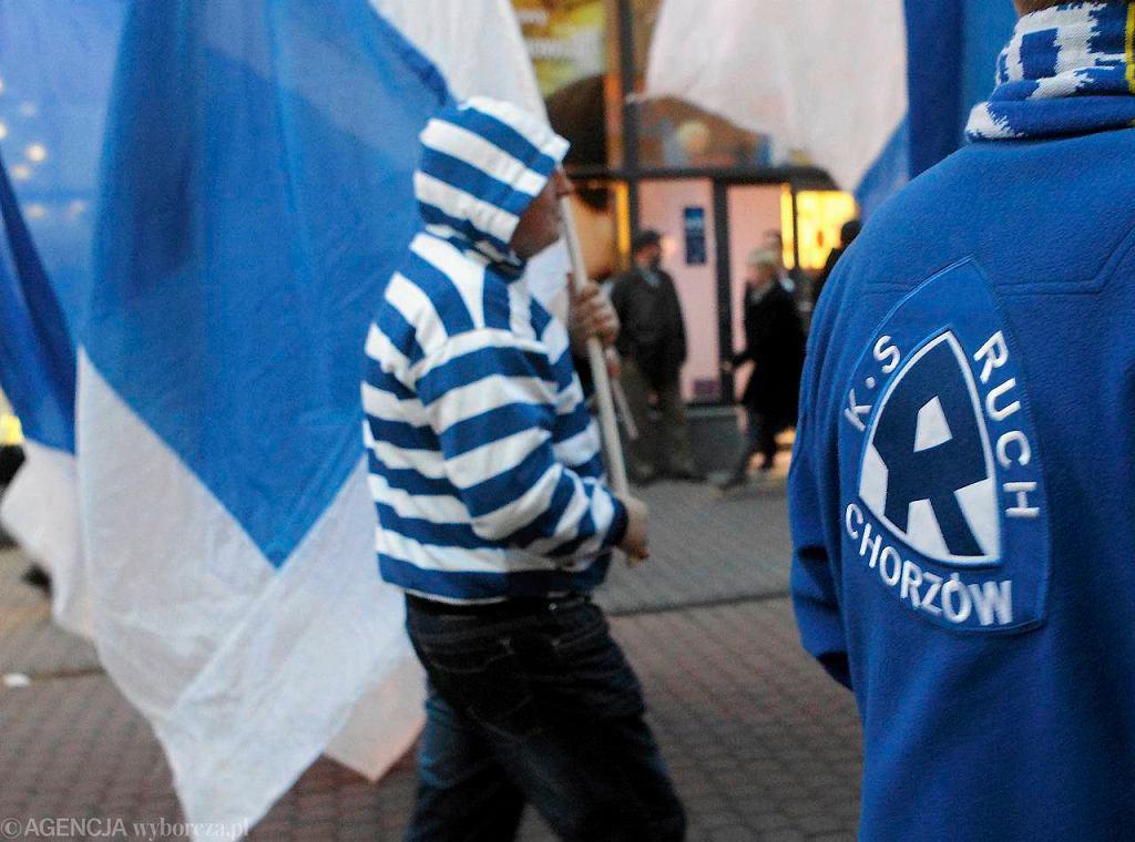Kibice Ruchu Chorzów - manifestacja z 2012 roku ws. budowy nowego stadionu