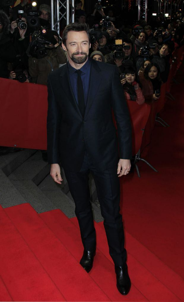 Actor Hugh Jackman arrives for the screening of the film Le Miserables at the 63rd edition of the Berlinale, International Film Festival in Berlin, Saturday, Feb. 9, 2013. (Photo by Joel Ryan/Invision/ AP)