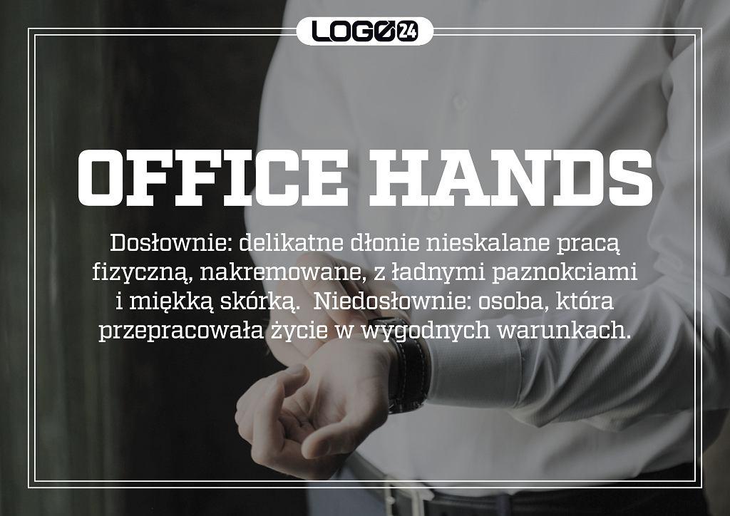 Office hands - delikatne dłonie nieskalane pracą fizyczną, nakremowane, z ładnymi paznokciami i miękką skórką.