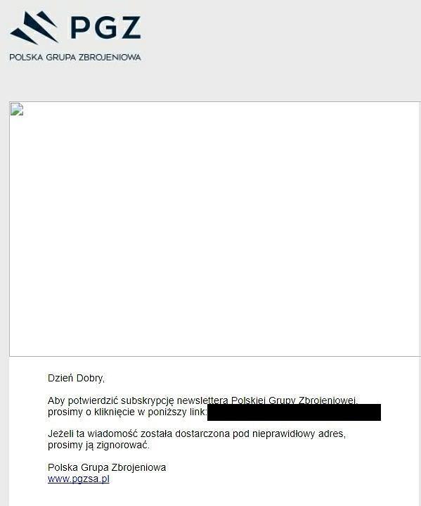 Mail od Polskiej Grupy Zbrojeniowej. Problematyczne zdjęcie zniknęło