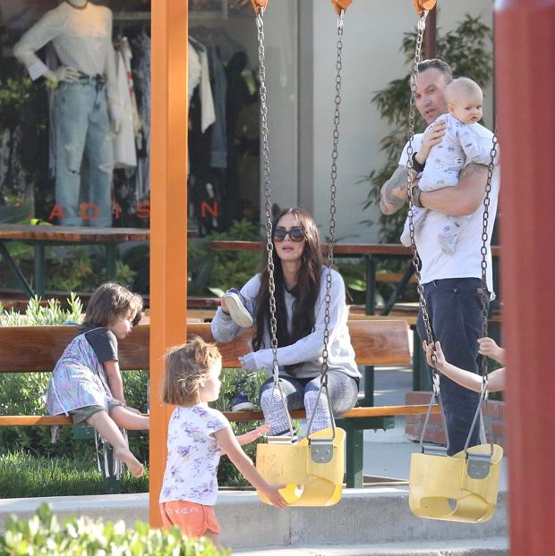 Megan Fox and Brian Austin Green take their kids to play at the park in Malibu, California.  Pictured: Bodhi Green, Megan Fox, Journey Green, Brian Austin Green