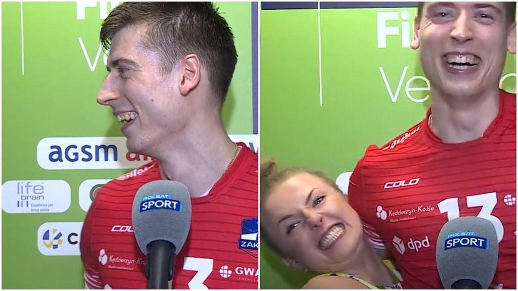Kamil Semeniuk i Joanna Wołosz podczas wywiadu po wygranach finałach Ligi Mistrzów i Mistrzyń