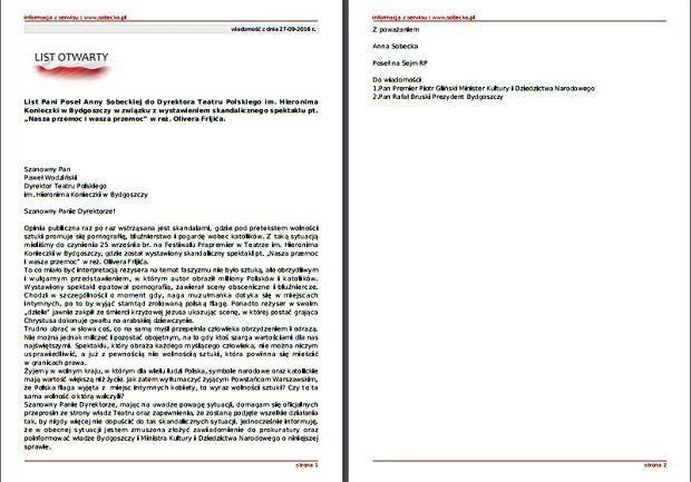 List posłanki Sobeckiej
