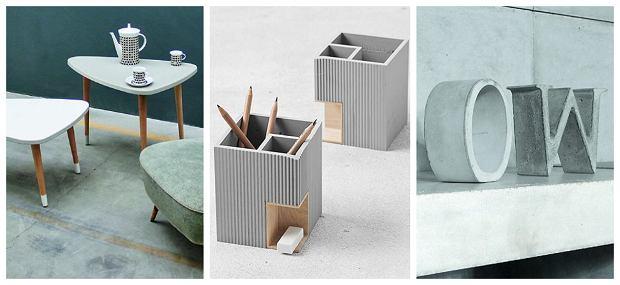 1. Stoliki z betonowymi blatami. 2. Pojemniki biurowe z betonu. 3. Betonowe litery - dekoracje.