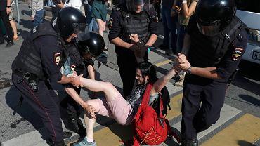 Protesty w Moskwie w sprawie nadchodzących wyborów lokalnych, 27.07.2019