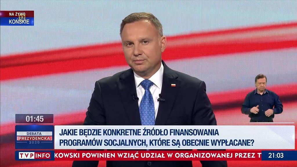 Andrzej Duda podczas debaty w Końskich