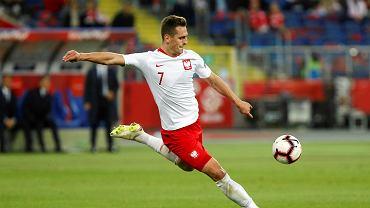 Arkadiusz Milik podczas meczu Polska - Włochy (Liga Narodów). Chorzów, Stadion Śląski, 14 października 2018