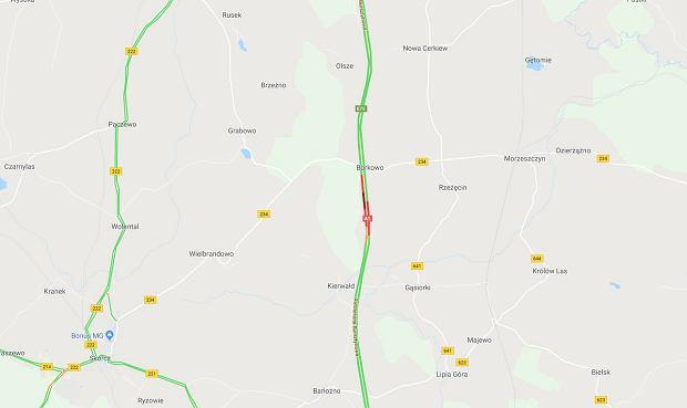 Zablokowana autostrada A1 w miejscu wypadku
