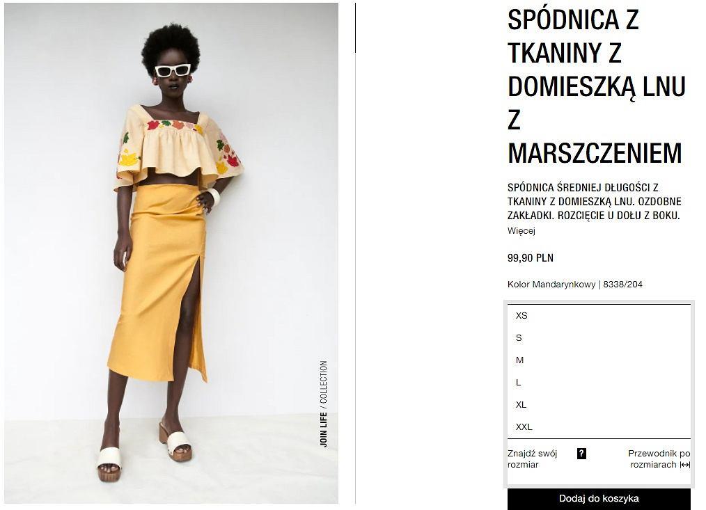 spódnica Zara z marszczeniem
