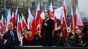 Andrzej Duda na czele Marszu w 2018 roku