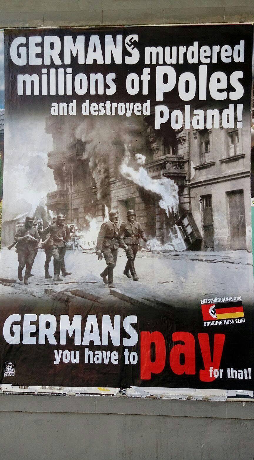 Na Ulicach Warszawy Plakaty Reparationen Machen Frei