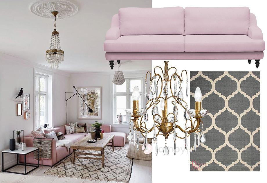 Różowa kanapa w salonie
