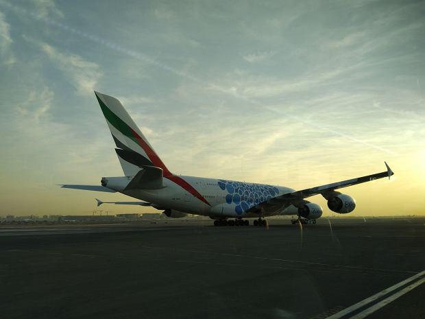 Samolot Emirates na lotnisku w Dubaju