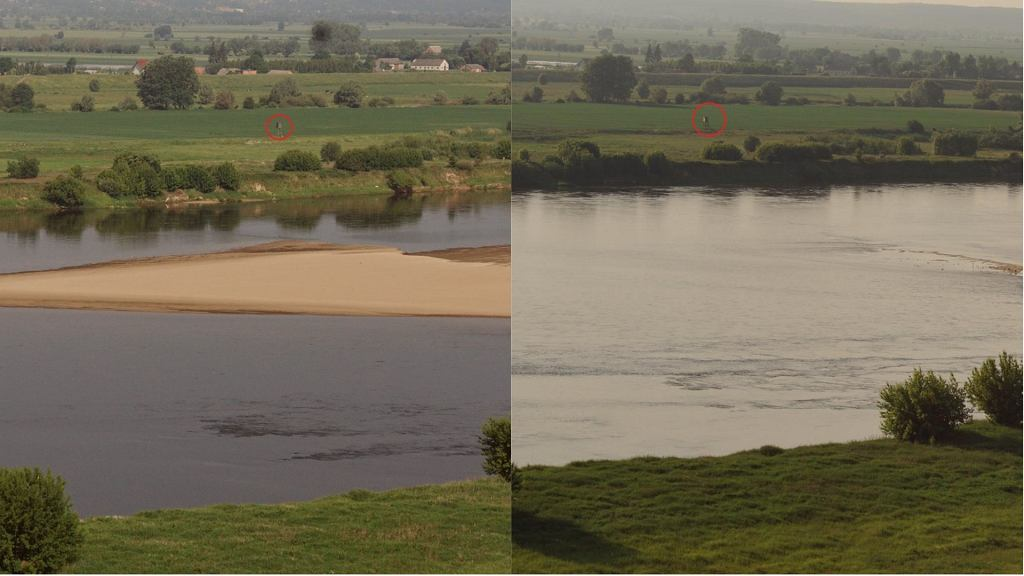 Zalana łacha na 938 km rzeki na wysokości miejscowości Parski, za Grudziądzem.