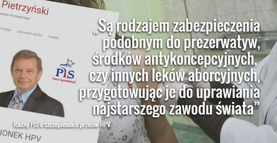 Radny PiS Marek Pietrzyński o szczepieniach przeciw HPV