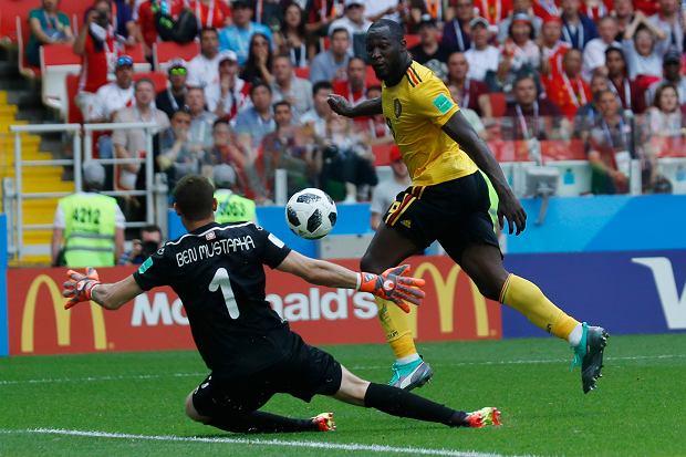 MŚ 2018. Belgia - Tunezja 5:2. Romelu Lukaku strzela trzeciego gola dla Belgii