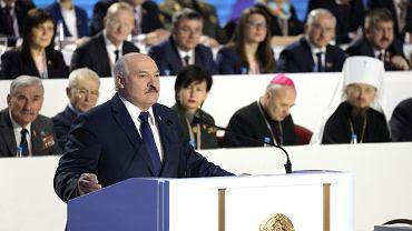 11.02.2021 r., Mińsk, Aleksander Łukaszenka podczas obrad Zgromadzenia Narodowego