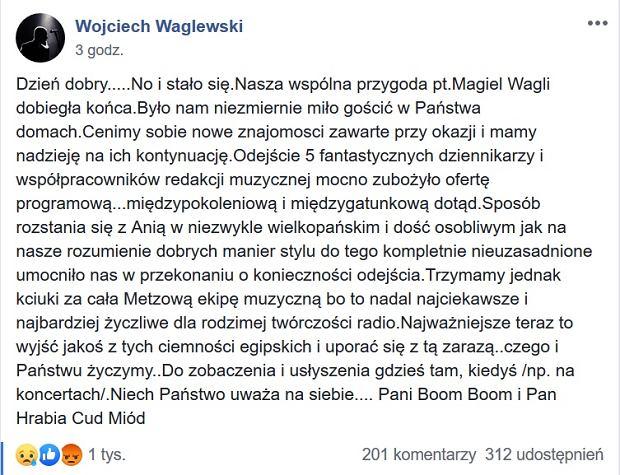 Wojciech Waglewski o rezygnacji z prowadzenia audycji 'Magiel Wagli'