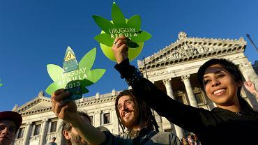 Zwolennicy legalizacji marihuany przed siedzibą urugwajskiego parlamentu w stolicy kraju Montevideo