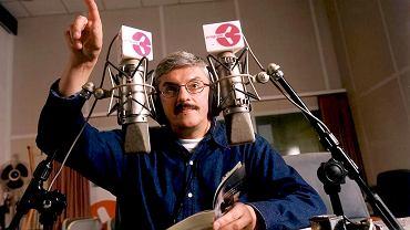 Marek Niedźwiecki w studiu radiowej trójki, 2001 r.