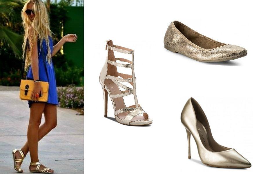 złote buty do niebieskiej sukienki