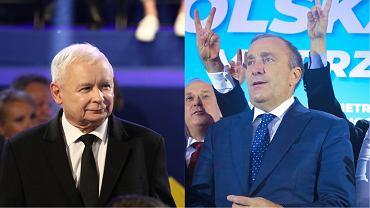Jarosław Kaczyński i  Grzegorz Schetyna podczas konwencji wyborczych w 2018 r.