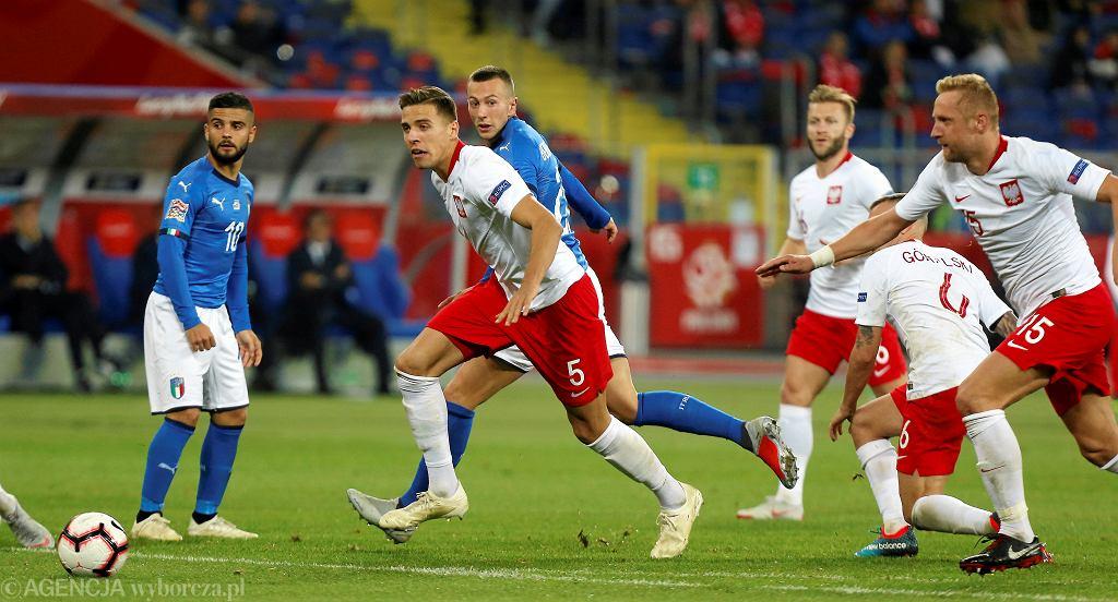 Jan Bednarek podczas meczu Polska - Włochy (Liga Narodów). Chorzów, Stadion Śląski, 14 października 2018