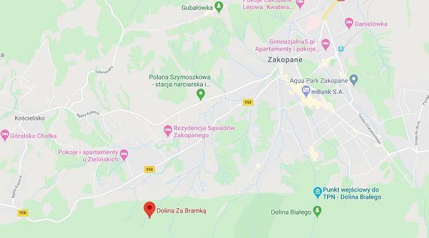 Dolina Za Bramką na mapach Google