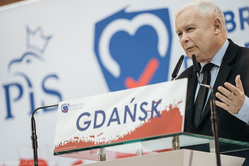 Prezes Jarosław Kaczyński na konwencji PiS w Gdańsku