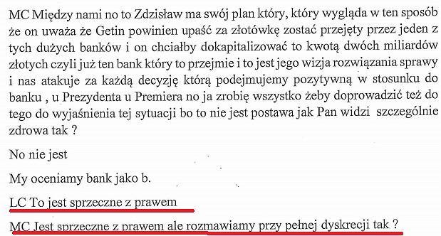 Stenogram z rozmowy Leszka Czarneckiego z szefem KNF Marciem Chrzanowskim