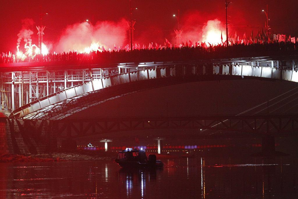 11.11.2018. Marsz Niepodległości na moście Poniatowskiego w Warszawie