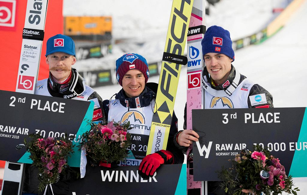 Robert Johansson, Kamil Stoch i Andreas Stjernen, czyli podium Raw Air 2018