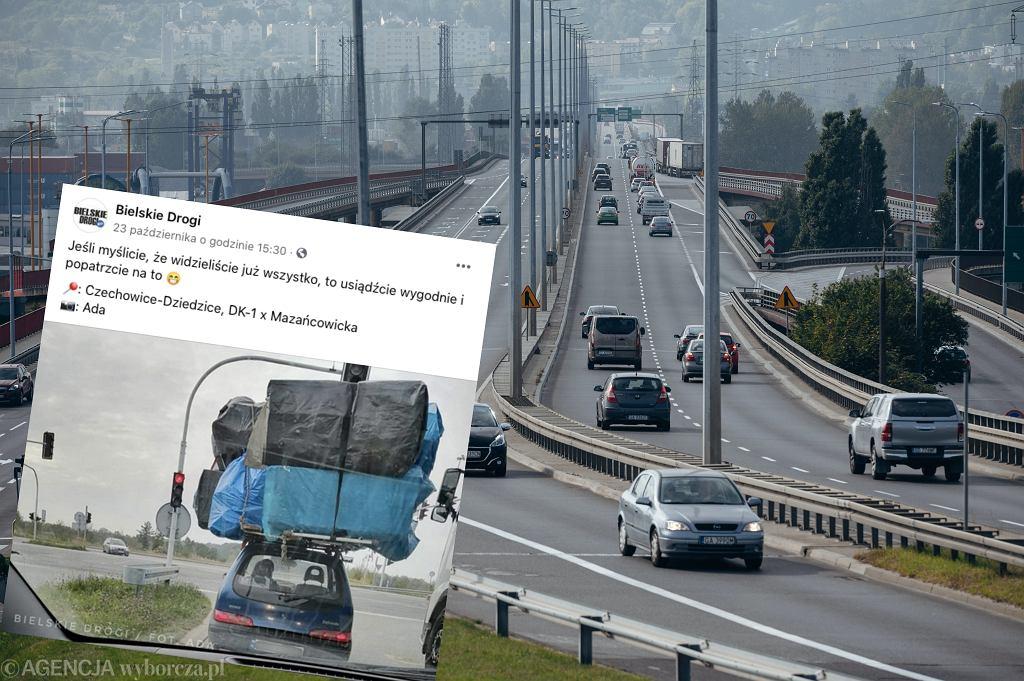 Bielsko-Biała. Kierowca seicento wiózł bagaż dwa razy większy od auta