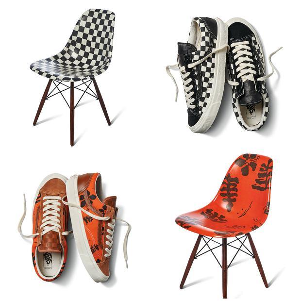 Kolekcja krzeseł Modernica i butów Vans
