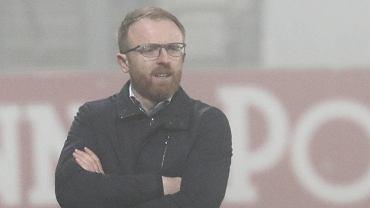 Trener Lechii Gdańsk Piotr Stokowiec podczas meczu z Cracovią