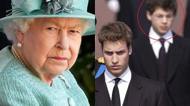 Królowa Elżbieta, książę William i Simon Bowes-Lyon