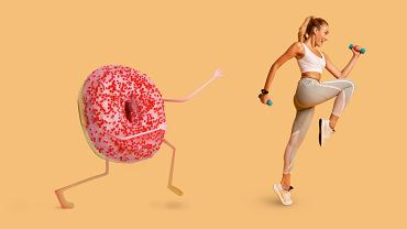 :Fitness,Lady,Running,Away,From,Tasty,Donut,With,Pink,Icing